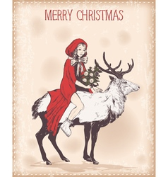 Vintage christmas card with girl on deer vector