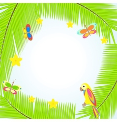 Frame with palm tree and parrots vector