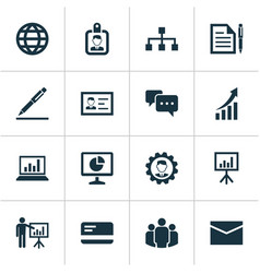 Job icons set collection of chatting statistics vector