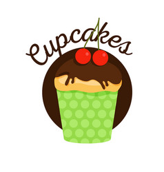 Muffin with chocolate vector