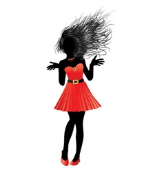 Girl in red dress21 vector