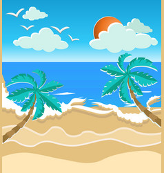Paper art style summer time card vector