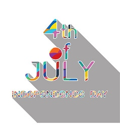4th july with shadow on white background vector