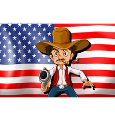 A cowboy in front of the USA flag vector image
