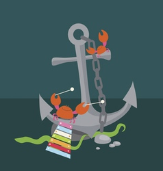 Anchor with crabs musicians vector