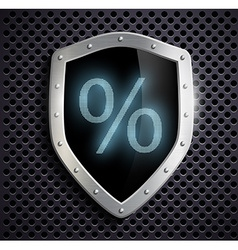 Metal shield which shows the percent sign vector