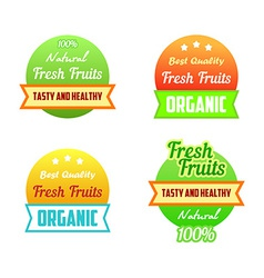 Labels of healthy fresh fruits vector