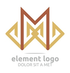 Logo brown element m design symbol icon vector