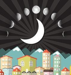 Moon Phases Sky above Night City vector image