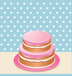 Pink iced cake vector