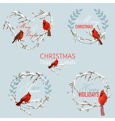 Vintage christmas winter birds - banners tags vector