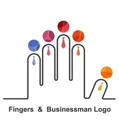 Fingers and businessman logo design templat vector