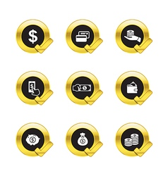 Gold circle and check mark withbusiness icons vector