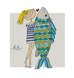 girl and big fish vector image