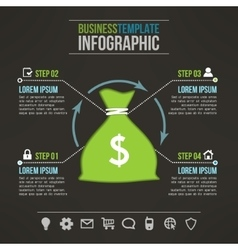 Money bag dark infographic template with vector