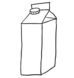 Black and white freehand drawn cartoon milk carton vector