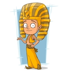 Cartoon little pharaoh boy from egypt vector