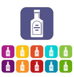 Bottle of whiskey icons set flat vector