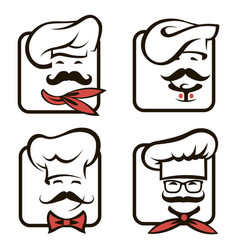 chef icons set vector image vector image
