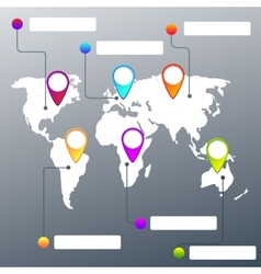Collection of map pointers and world map vector image vector image