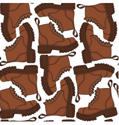 Color seamless pattern with brown boots vector