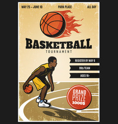 colored vintage basketball championship poster vector image vector image