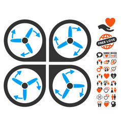 Copter screws rotation icon with valentine bonus vector