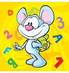 Cute mouse cartoon with school bag vector