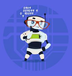 Cute robot wear glasses thinking modern artificial vector