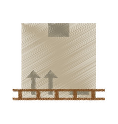 drawing boxes staked wooden design vector image