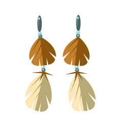 earrings with feathers native american indian vector image vector image