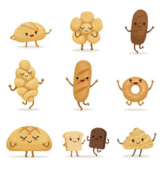 Funny bakery food with different emotions vector