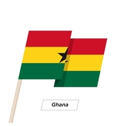 Ghana ribbon waving flag isolated on white vector
