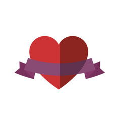 Heart and ribbon icon vector