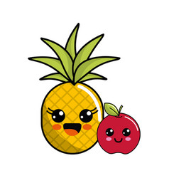 Kawaii happy pineapple and apple icon vector