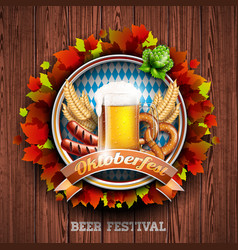 Oktoberfest with fresh lager beer on wood texture vector