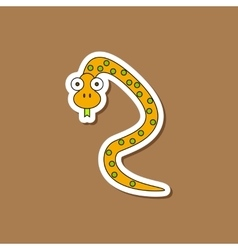 Paper sticker on stylish background kids toy snake vector