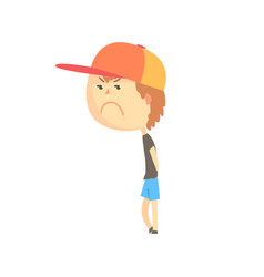Sad offended cartoon boy standing colorful vector