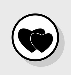 two hearts sign flat black icon in white vector image