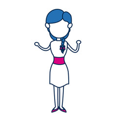 Woman avatar standing character person in blue and vector