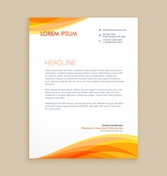 yellow wave creative letterhead vector image