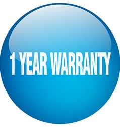 1 year warranty blue round gel isolated push vector