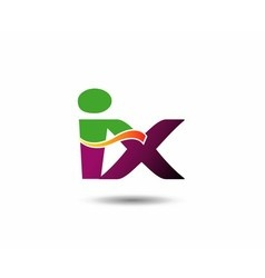 Abstract letter iX logo design template vector image