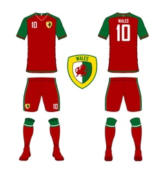 Soccer kit football jersey template for wales vector