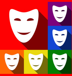 Comedy theatrical masks  set of icons with vector