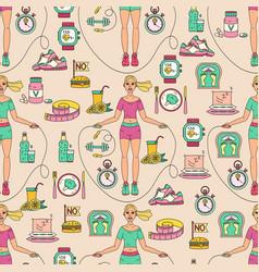 Sport seamless pattern weight loss diet template vector