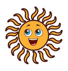 Summer sun kawaii character vector