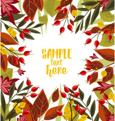 Autumn leaves with rose hip vector