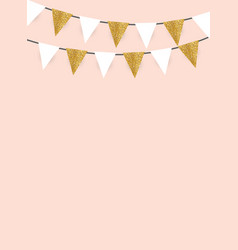 Party background with golden glitter flags vector