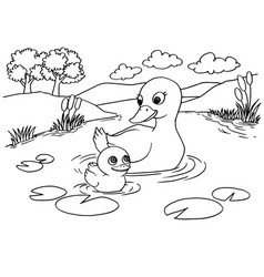 Cartoon duck lake coloring page vector